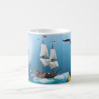 Ship in a light bulb coffee mug