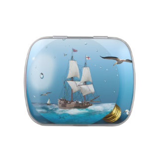 Ship in a light bulb jelly belly candy tin