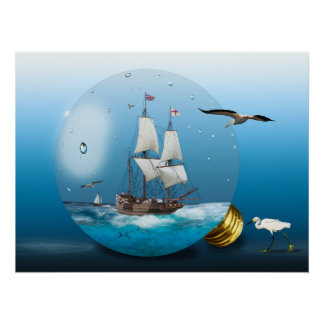 Ship in a light bulb poster