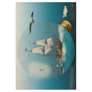 Ship in a light bulb wood poster