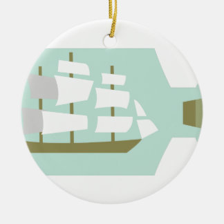 Ship In Bottle Ceramic Ornament