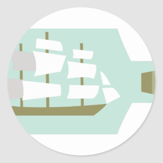 Ship In Bottle Classic Round Sticker