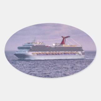 Ship in Purple Oval Sticker