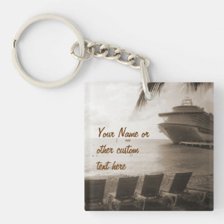 Ship in Sepia Custom Key Chain Acrylic Keychains