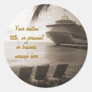 Ship in Sepia Custom Sticker
