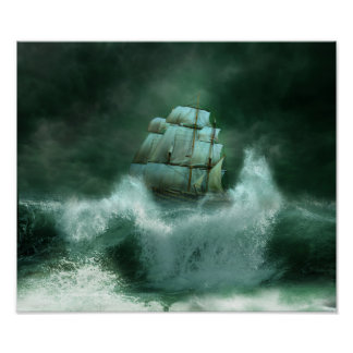 Ship in Storm Poster