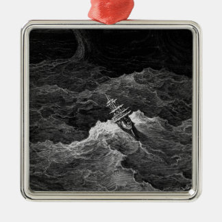 Ship in stormy sea metal ornament