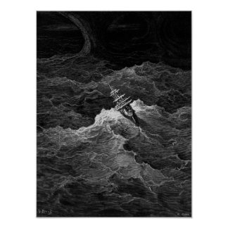 Ship in stormy sea posters