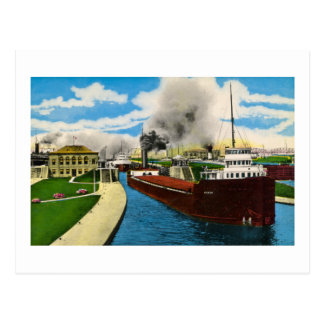 Ship in the Locks,  Sault Ste. Marie, Michigan Postcard