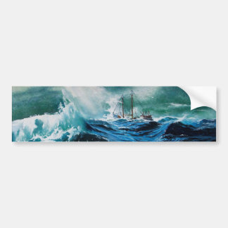 Ship In the Sea in Storm Bumper Sticker