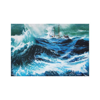 Ship In the Sea in Storm Gallery Wrap Canvas