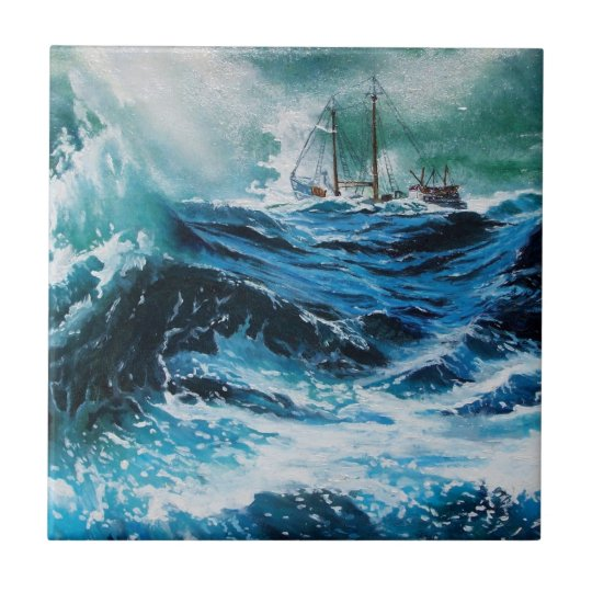 Ship In the Sea in Storm Ceramic Tile