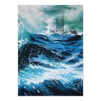 Ship In the Sea in Storm 5x7 Paper Invitation Card