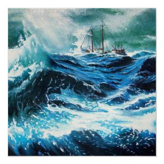 Ship In the Sea in Storm 5.25x5.25 Square Paper Invitation Card