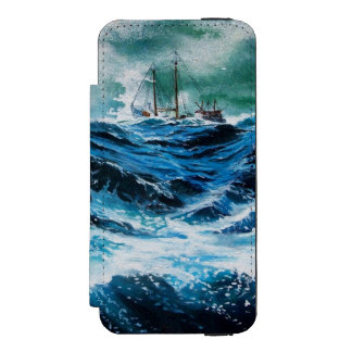 Ship In the Sea in Storm iPhone SE/5/5s Wallet Case