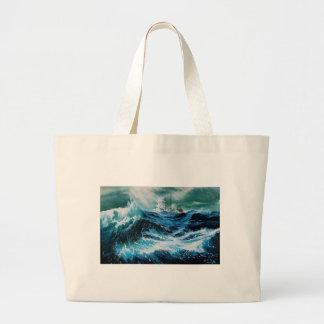 Ship In the Sea in Storm Jumbo Tote Bag