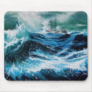 Ship In the Sea in Storm Mouse Pad