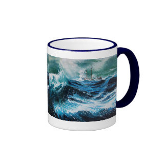 Ship In the Sea in Storm Coffee Mugs