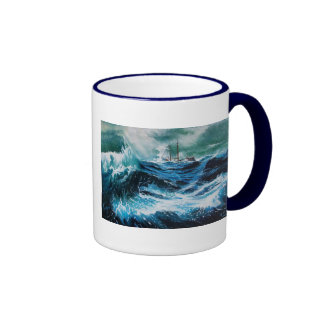 Ship In the Sea in Storm Mug