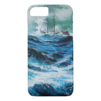 Ship In the Sea in Storm / Navy Blue iPhone 7 Case