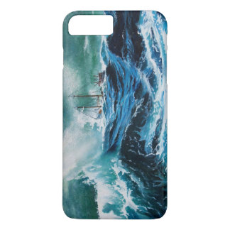 Ship In the Sea in Storm / Navy Blue iPhone 7 Plus Case