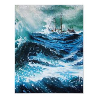 Ship In the Sea in Storm ,Parchment 4.25x5.5 Paper Invitation Card