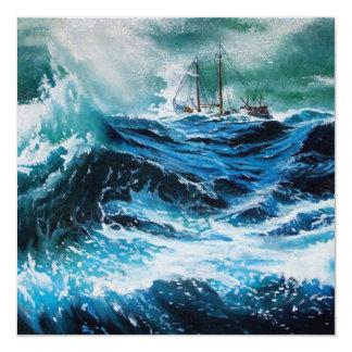 Ship In the Sea in Storm ,Parchment 5.25x5.25 Square Paper Invitation Card