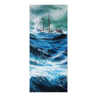 Ship In the Sea in Storm ,Parchment 4x9.25 Paper Invitation Card