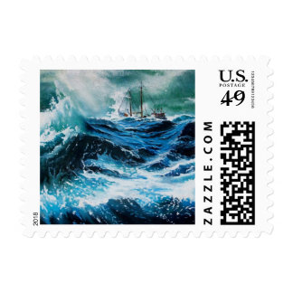 Ship In the Sea in Storm Postage