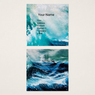Ship In the Sea in Storm Square Business Card