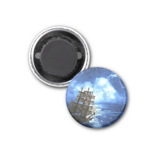 Ship In The Storm Button Magnet
