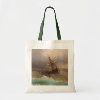 Ship in the Stormy Sea Tote Bag