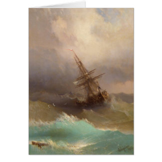 Ship in the Stormy Sea Card
