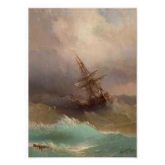 Ship in the Stormy Sea Poster