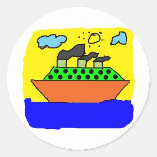 Ship - Kids Painting Round Stickers