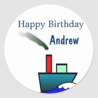 Ship Nautical Birthday Classic Round Sticker