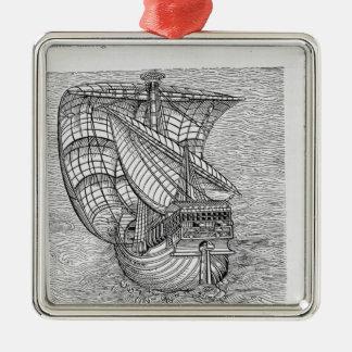 Ship of Columbus' Time' Metal Ornament