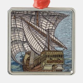Ship of Columbus'Time' Metal Ornament