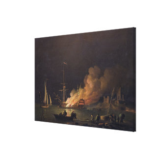 Ship on Fire at Night, c.1756 (oil on canvas) Canvas Print