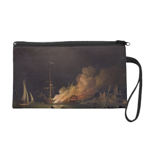 Ship on Fire at Night, c.1756 (oil on canvas) Wristlet Purse