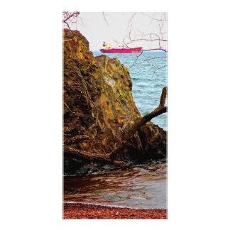 Ship on Lake Superior Custom Photo Card
