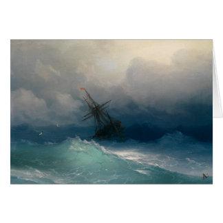 Ship on Stormy Seas Greeting Cards