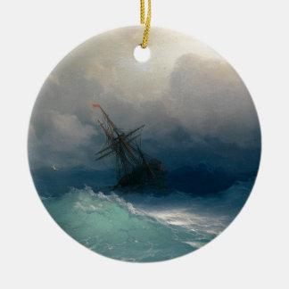 Ship on Stormy Seas, Ivan Aivazovsky - Ceramic Ornament