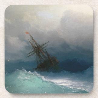 Ship on Stormy Seas Ivan Aivazovsky seascape storm Coaster