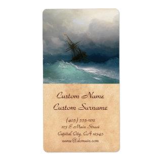 Ship on Stormy Seas Ivan Aivazovsky seascape storm Shipping Label