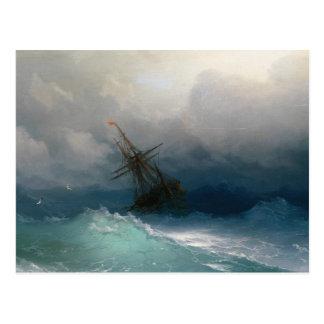 Ship on Stormy Seas Ivan Aivazovsky seascape storm Postcard