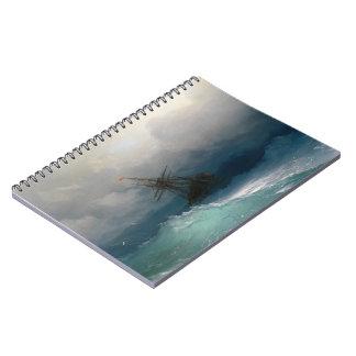 Ship on Stormy Seas Ivan Aivazovsky seascape storm Spiral Notebook