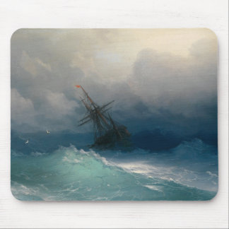 Ship on Stormy Seas Mouse Pad