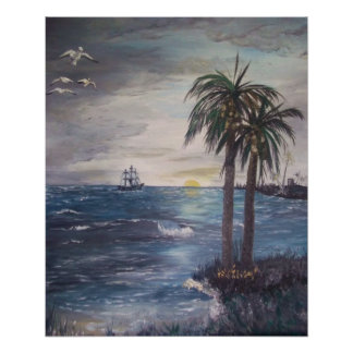 Ship on the Horizon-Gulf Shore Inlet Poster