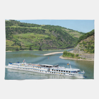 Ship on the Rhine with Oberwesel Hand Towel